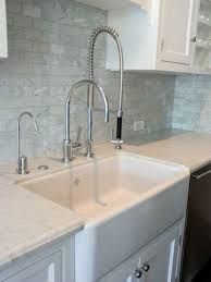 Industrial Faucets Kitchen Apron Front Farm Sink Industrial Faucet At Right Marble