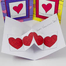 make a valentine heart chain pop up card valentine u0027s day crafts