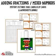 adding fractions task cards and worksheets bundle printables