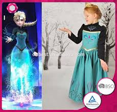 fashion frozen elsa costume long sleeve black princess dance