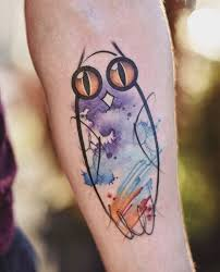 watercolor owl tattoo inkstylemag