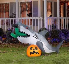 new animated jaws shark on pumpkin halloween airblown inflatable