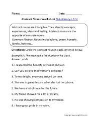 abstract nouns worksheet for grade 3 worksheets