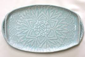 ceramic serving platters handmade pottery tray seafoam green lace ceramic appetizer