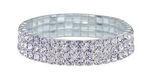 bridal ring bracelet images Bridal rhinestone stretch bracelet 2 row silver tone jpg