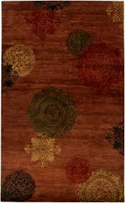 surya surroundings red brown black rug