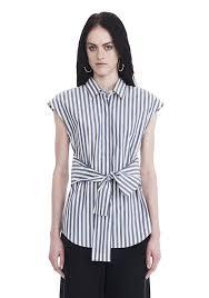 alexander wang striped short sleeve front tie shirt top official