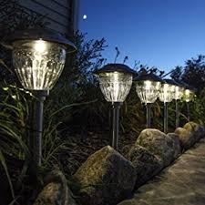 Landscape Lighting Set Solar Stainless Steel Metal Path Lights Set Of 6