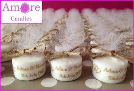 candle wedding favors personalised vintage style tealight candles wedding favours set