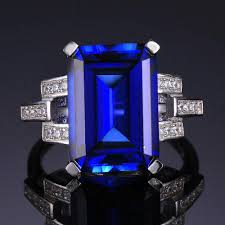 blue amethyst rings images Jewelrypalace luxury emerald cut 9 6ct created blue sapphire jpg