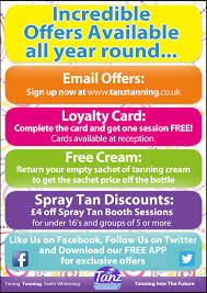 special offers to use at tanz salons across scotland