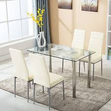 furniture kitchen table set 5 dining table set w 4 chairs glass metal kitchen room