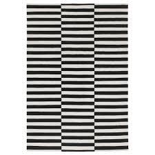 stockholm rug flatwoven handmade striped black off white 170x240