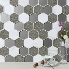 Stunning Hexagonal Tile Backsplash Contemporary Home Decorating - Hexagon tile backsplash