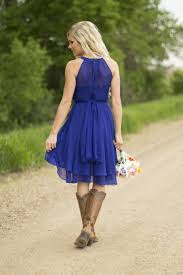 modest country western style royal blue short bridesmaid dresses