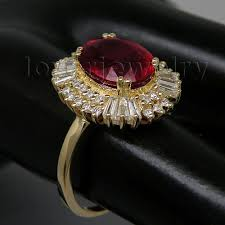 ruby rings sale images Big solid 14kt yellow gold 3 83ct diamond natural red ruby jpg