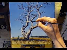 how to paint a tree acrylic painting lesson grid drawing