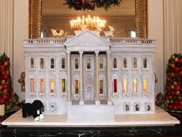 the whitehouse gingerbread house now with gigantic marzipan bo