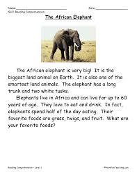 this reading comprehension worksheet the african elephant is for