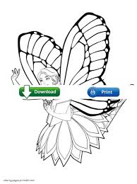 free barbie coloring pages to print mariposa