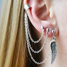 earrings with chain ear cartilage chain earrings ear cuff 3 holes wings jewelry