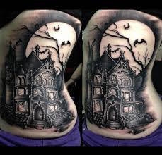 14 creepy u0026 cool haunted house tattoos inkedd tatoo