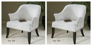 Accent Desk Chair Two Alabaster White Linen Cotton Accent Club Office Chair Nail