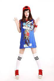 Hip Hop Halloween Costumes Girls 2017 Hip Hop Big Paragraph Shows Cute Cartoon Design Blue Bar