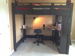 gray wooden loft bed with laptop desk and open shelves bedroom how
