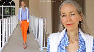 Preppy For Women Over 50 | classic fashion style over 40 over 50 preppy blue with orange