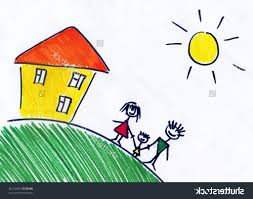 small children drawing children39s drawing of happy family about