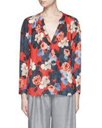 j crew blouses lyst j crew collection silk blouse in graphic peony