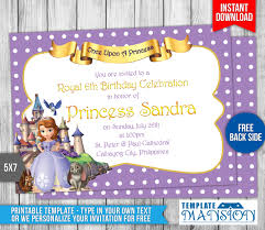 sofia the first birthday cards free printable invitation design