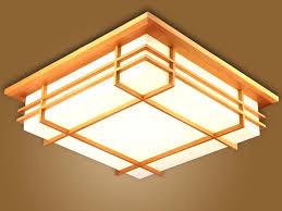 wood flush mount ceiling light japanese indoor lighting led ceiling light l square 45 55cm