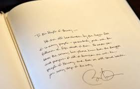 president obama u0027s handwritten letter to the people of norway