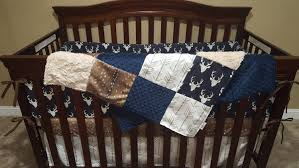 Minky Crib Bedding Woodland Boy Crib Bedding Navy Buck Deer Skin Minky White