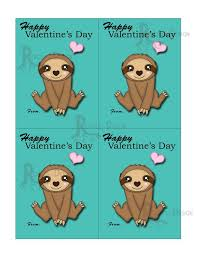 sloth valentines day card instant sloth classroom cards great for