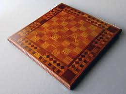 antique 19th century chess board home made inlaid wood two sided