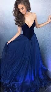 best ball gown strapless floor length tulle navy blue prom evening