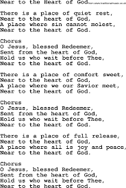 A Place Hymn Baptist Hymnal Christian Song Near To The Of God Lyrics