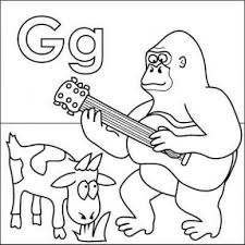 coloring page of gorilla letter g coloring page gorilla goat guitar grass from just