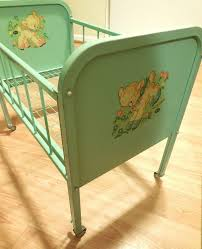 vintage doll crib with turquoise painted style bedroom iron