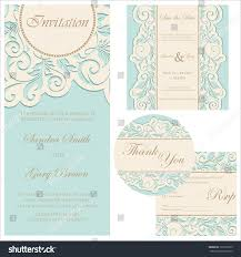 Wedding Invitations And Rsvp Cards Set Wedding Cards Invitation Thank You Stock Vector 133375205