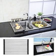 Kitchen Sink Tray Dish Drying Rack Stainless Steel Roll Up Sink Drainer Holder