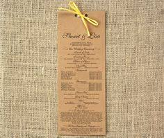 kraft paper wedding programs rustic wedding program kraft wedding program rustic by sweetsights