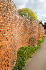 red brick crinkle crankle or serpentine wall at easton suffolk