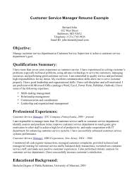 Resume Samples Summary Of Qualifications by Sample Resume For Customer Service Supervisor Objective
