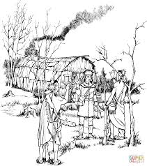 johnny appleseed with animals coloring page free printable