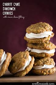 carrot cake sandwich cookies with cream cheese filling overtime cook