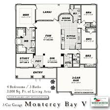 Size Of A Three Car Garage Monterey Bay New Homes In Fl Whitworth Builders